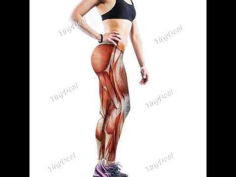Pantalon de Yoga Muscle Guêtres Elastique Tricotée 3D Muscle Printing Pencil Pants
