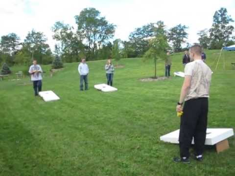 My Sons Playing Adult Corn Hole Bean Bag Toss Game 9 23