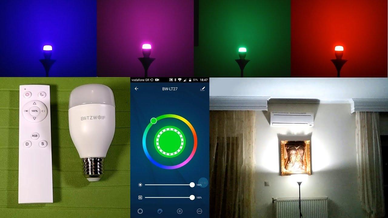 BlitzWolf® BW-LT27 AC100-240V RGBWW+CW 9W E27 APP Smart LED Bulb Work With  Alexa Google Assistant + IR Remote Control Videos   Banggood Video Review