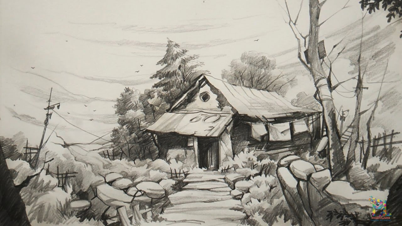 How to draw and shade old house for beginners with pencil for Drawing of small house