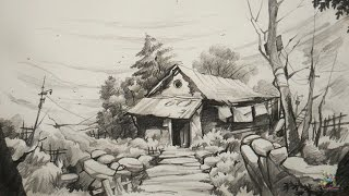 How To Draw and Shade Old House  For Beginners With PENCIL | Pencil Art