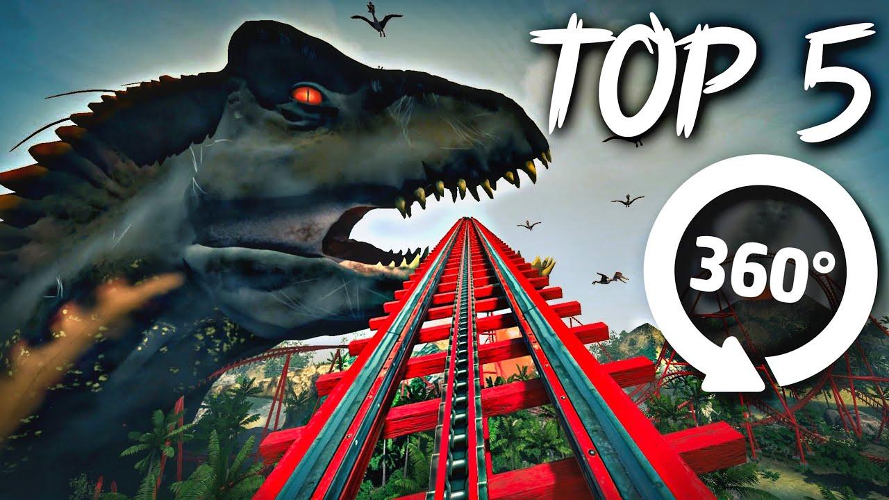 360° VR VIDEO || Top 5 Roller Coaster Dinosaurs 🐾 Jurassic World