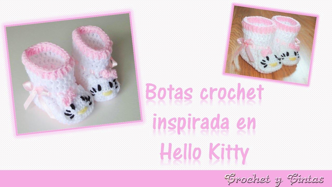 Botas o zapatos a crochet para bebés inspiradas en Hello Kitty ...
