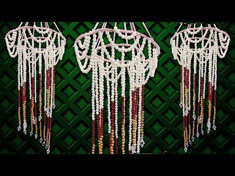 DIY Wall Hanging Craft ideas!!! Jhumar Making!! Room Decor ideas! Pearl Wall Hanging Craft idea