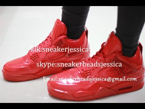 098f67f9f40a85 Authentic Air Jordan 4s 11lab4 Red Patent Leather Limited - YouTube