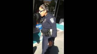 Small Female Cop Tries To Arrest A Man For Riding His Bike On A Sidewalk