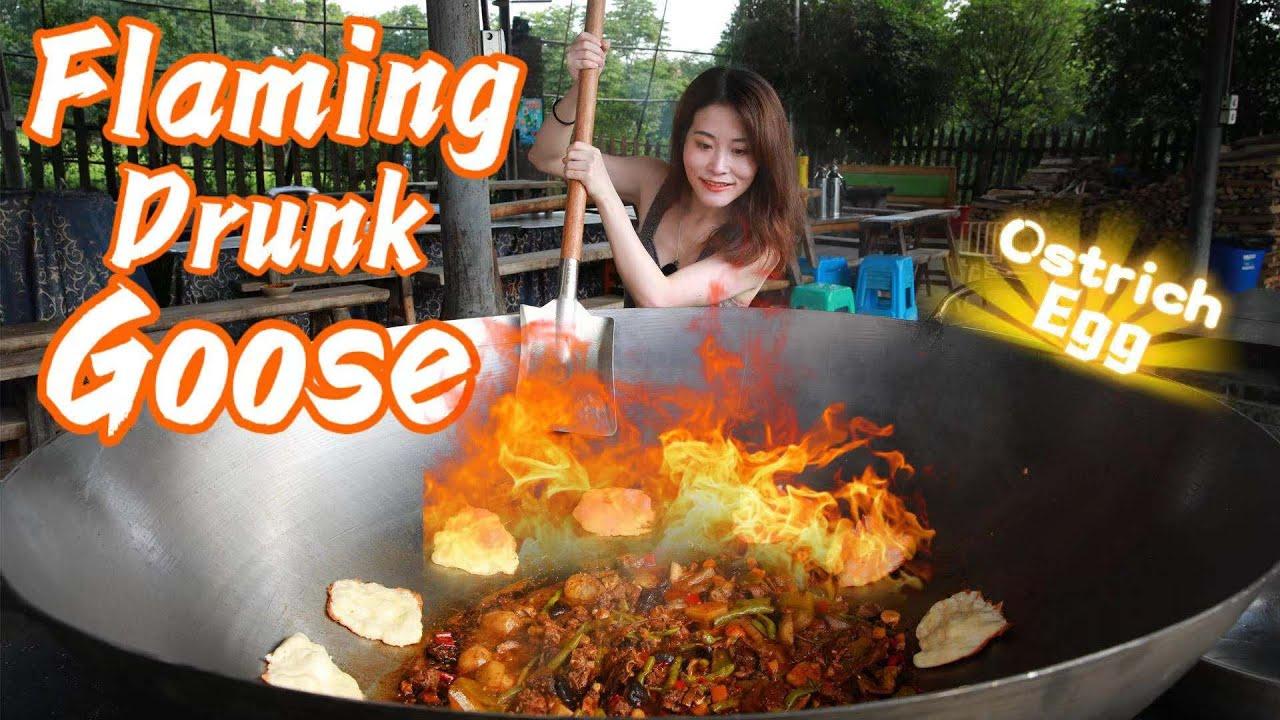 HOT Flaming Drunk Goose+Scrambled Ostrich Egg | Ms Yeah