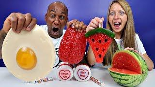 Famtastic Vlog 2: Real Food VS Gummy Food! Gross Giant Candy Challenge