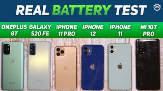 iPhone 12 vs iPhone 11, 11 Pro, Oneplus 8T, S20 FE Battery Drain Test | 6 Lakh Giveaway!  [Hindi]