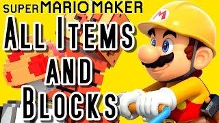 Super Mario Maker ALL ITEMS, BLOCKS & POWERUPS (Wii U)