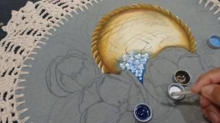 Roberto Ferreira – Pintura em tecido emborrachado Peneira desfocada e flores Simples
