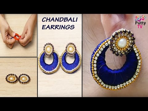 How to make Chandbali Earrings at Home | Latest Silk Thread Earrings | DIY Earrings