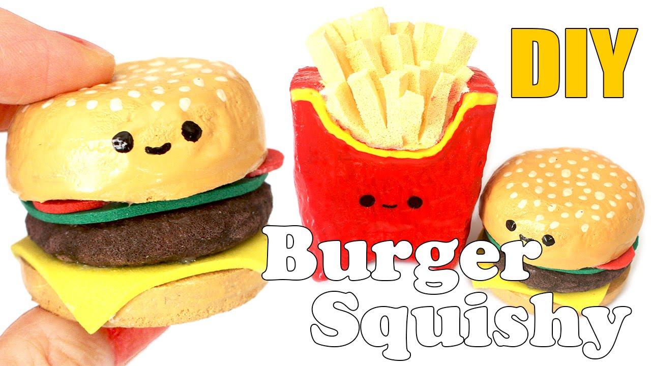 Diy mini burger squishy tutorial make up sponge youtube for Squishy ideas