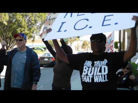 Trump Supporters In Front of ICE Field Office When Pro Illegals Arrived To Protest