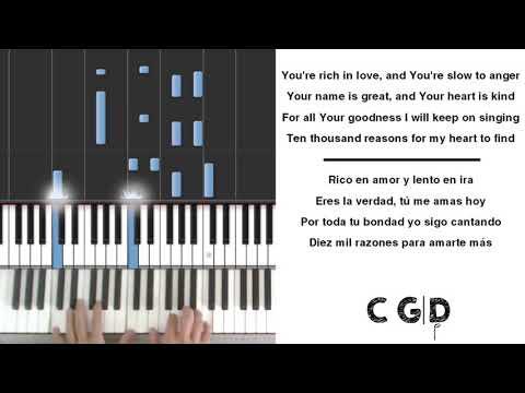 10000 Reasons Matt Redman - Piano Chords Lyrics KARAOKE English & Spanish 145 BPM