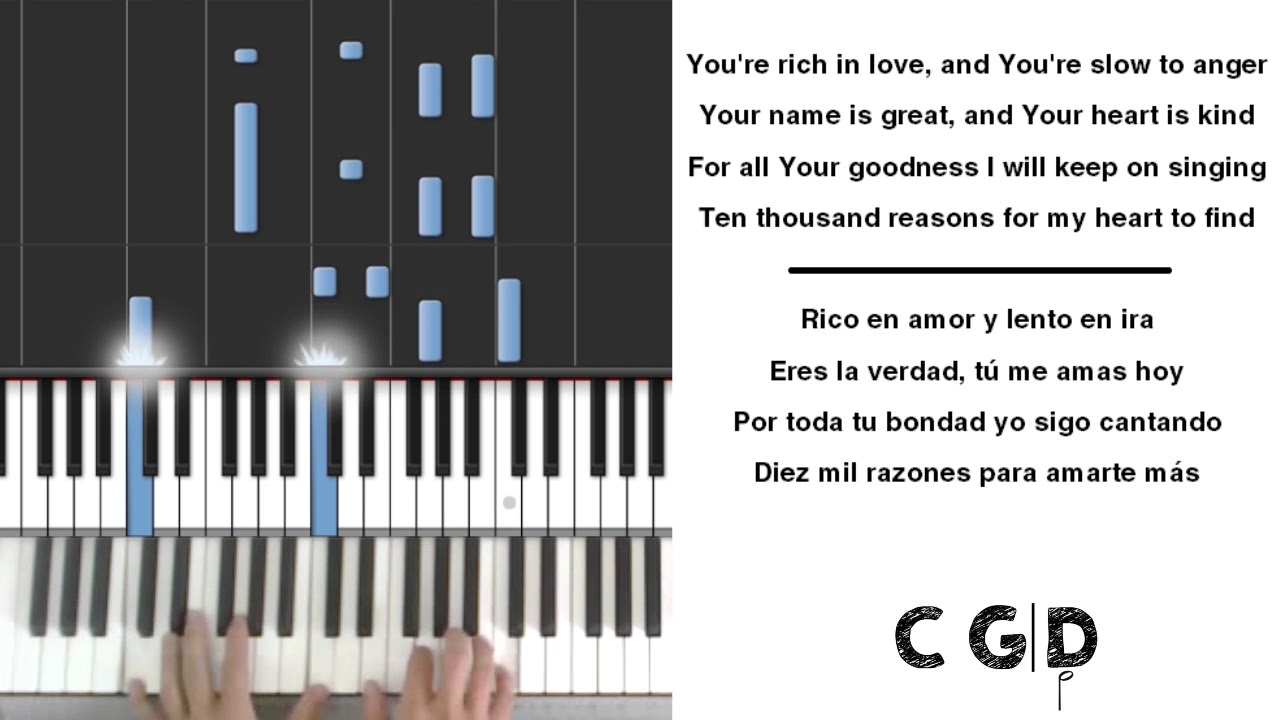 10000 Reasons Matt Redman Piano Chords Lyrics Karaoke English
