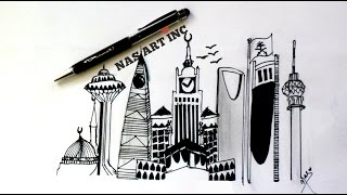 SAUDI ARABIA SKYLINE||SPEED DRAWING||❤❤❤❤