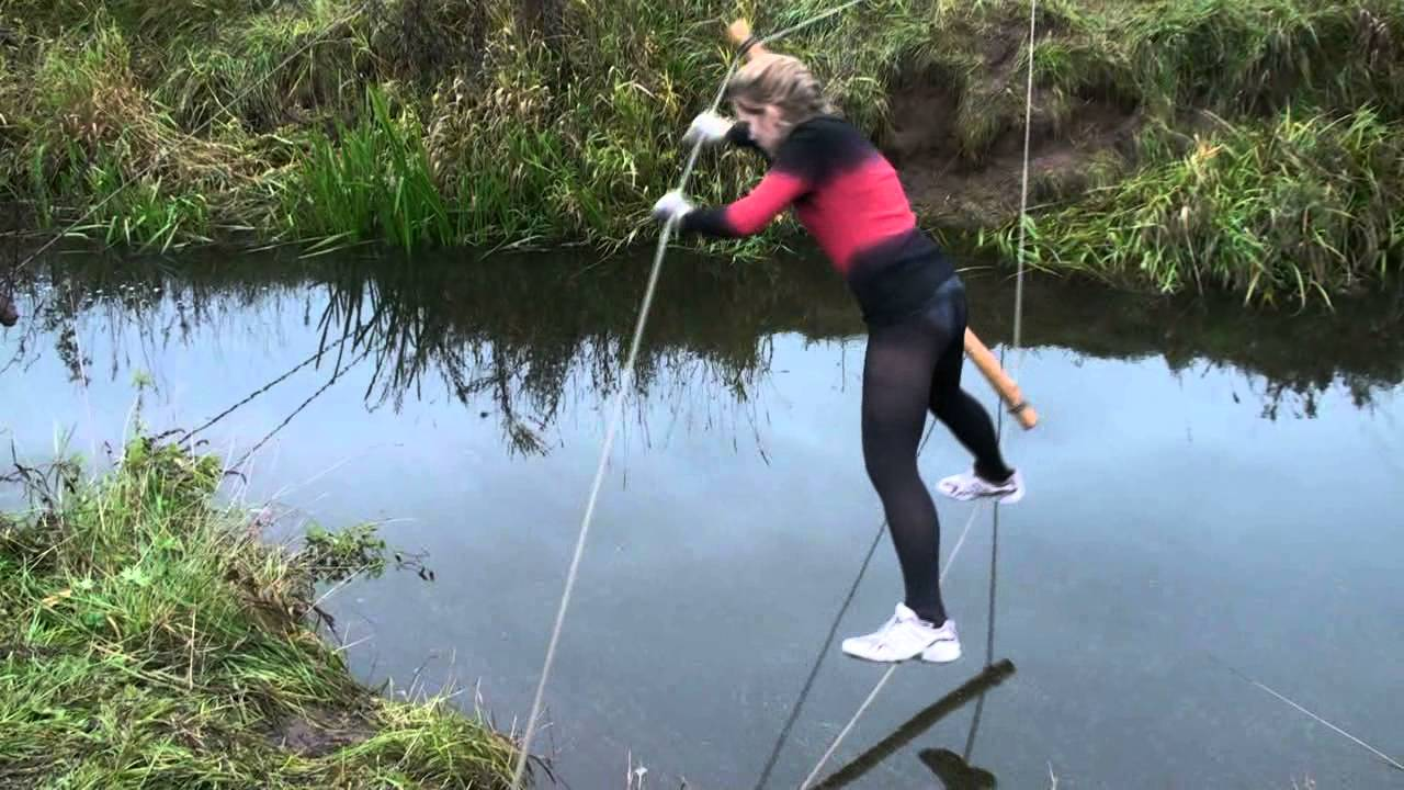 Funny Video: Balancing Over a River Fail