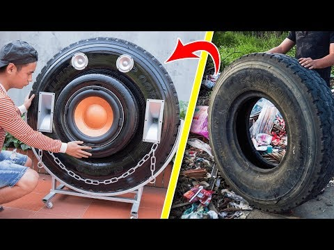 Recycle Tire From Landfill Into Giant Bluetooth Speaker!