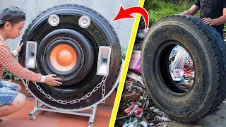 reciclaje de los neumáticos de los vertederos en Altavoz Bluetooth gigante!