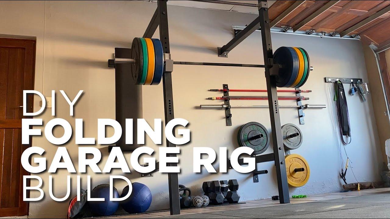 folding home garage rack gym build diy squat and bench rig