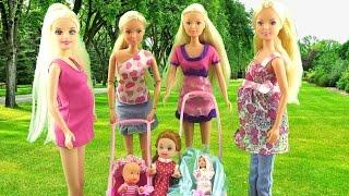 Мультик Мамы и малыши. Беременная кукла Штеффи родила Игрушки для девочек / Pregnant dolls baby kids