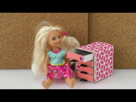 selber basteln / Komode für Barbie Sylvanian Families Puppenhaus aus Streichholzschachteln