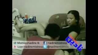 Repeat youtube video Mistress Nadine - Slapping Slave مسترس نادين بتلطش لكلب بالالم