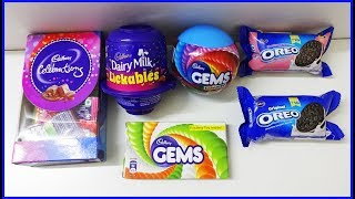Cadbury Dairy Milk Lickables Gems Ball Celebration Box Oreo Biscuits With Surprise Toys Learn Colors thumbnail