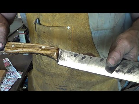 Blacksmithing - Forging A Large Farrier Rasp File Knife And Rope Chop