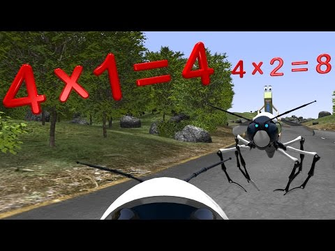 Four Times Table with Robot Wasp - Multiplication Math Videos for Kids