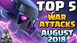 TOP 5 WAR ATTACKS August 2018 | Clash of Clans
