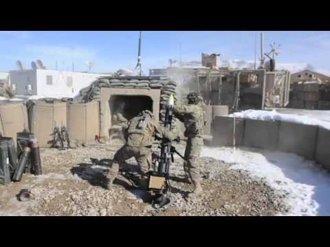10th Mountain Division -- 120mm Mortars Fired from FOB Lighting, Afghanistan!