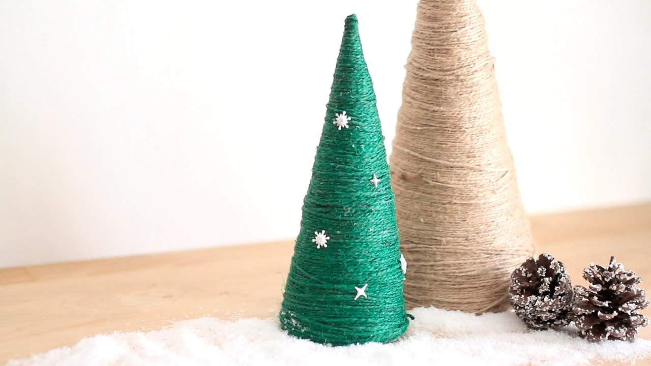 Manualidades de navidad rbol de navidad con cuerda diy - Manualidades de arboles de navidad ...