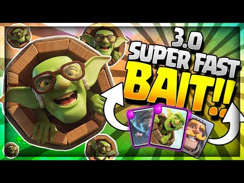 NEW 3.0 SUPER FAST GOBLIN BARREL CYCLE DECK!! Amazing Bait Strategy - Arena 9 to 11 Clash Royale