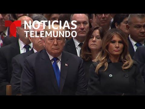 El presidente Trump llega al funeral de Estado de George H.W. Bush | Noticias Telemundo