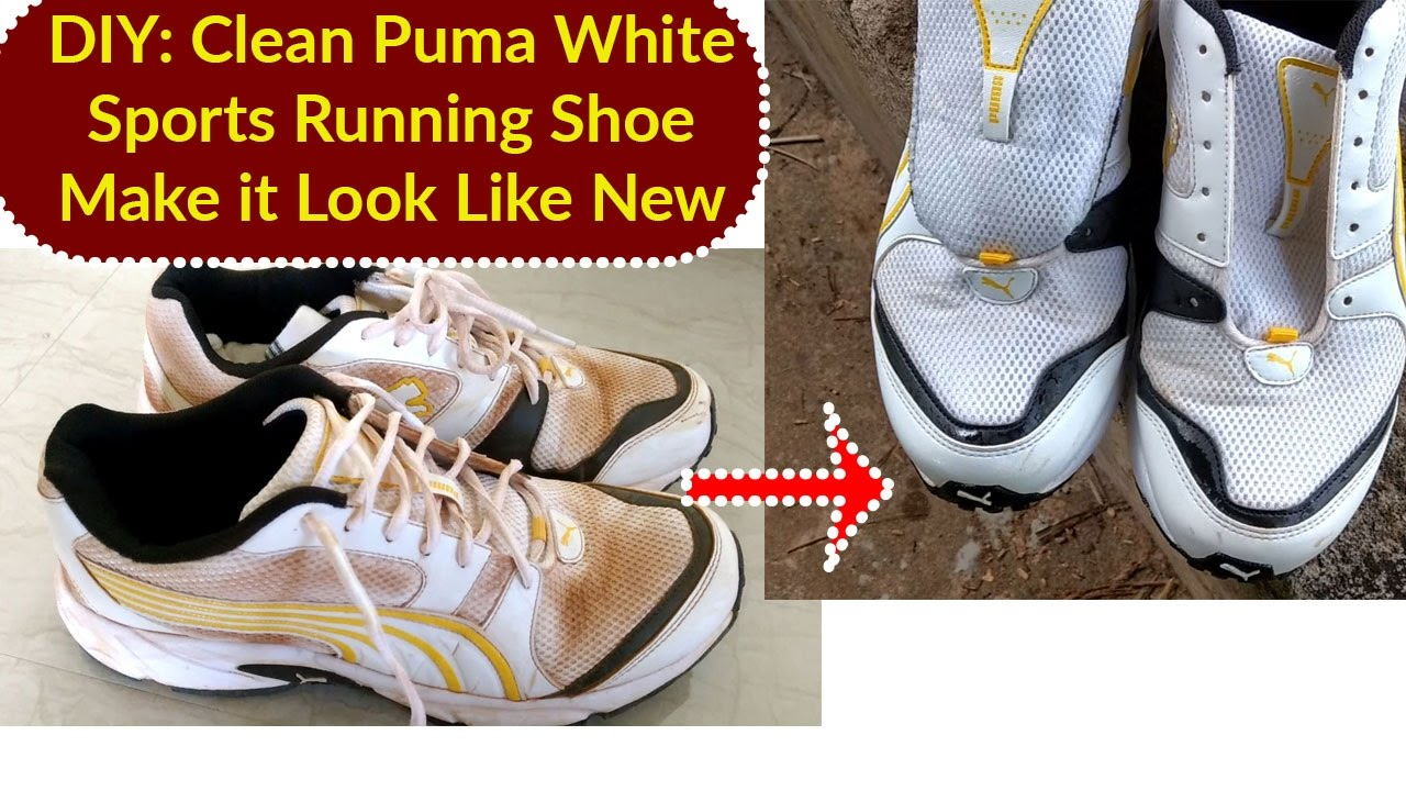 DIY   How to Clean Puma White Sports Running Shoe Can You Use Water ... 89b74e4ec