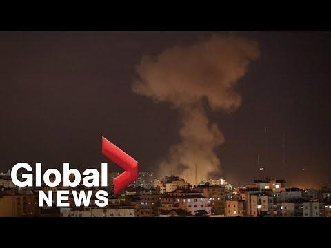 Flares light up night sky over Gaza Strip as violence escalates