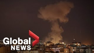 Flares light up night sky over Gaza Strip as violence escalates