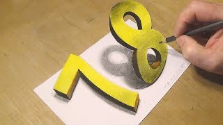 Happy New Year - How to Draw Number 7 & 8 - 3D Trick Art with Vamos