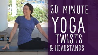 30 Minute Hatha Flow Twists and Headstands Yoga with Fightmaster Yoga