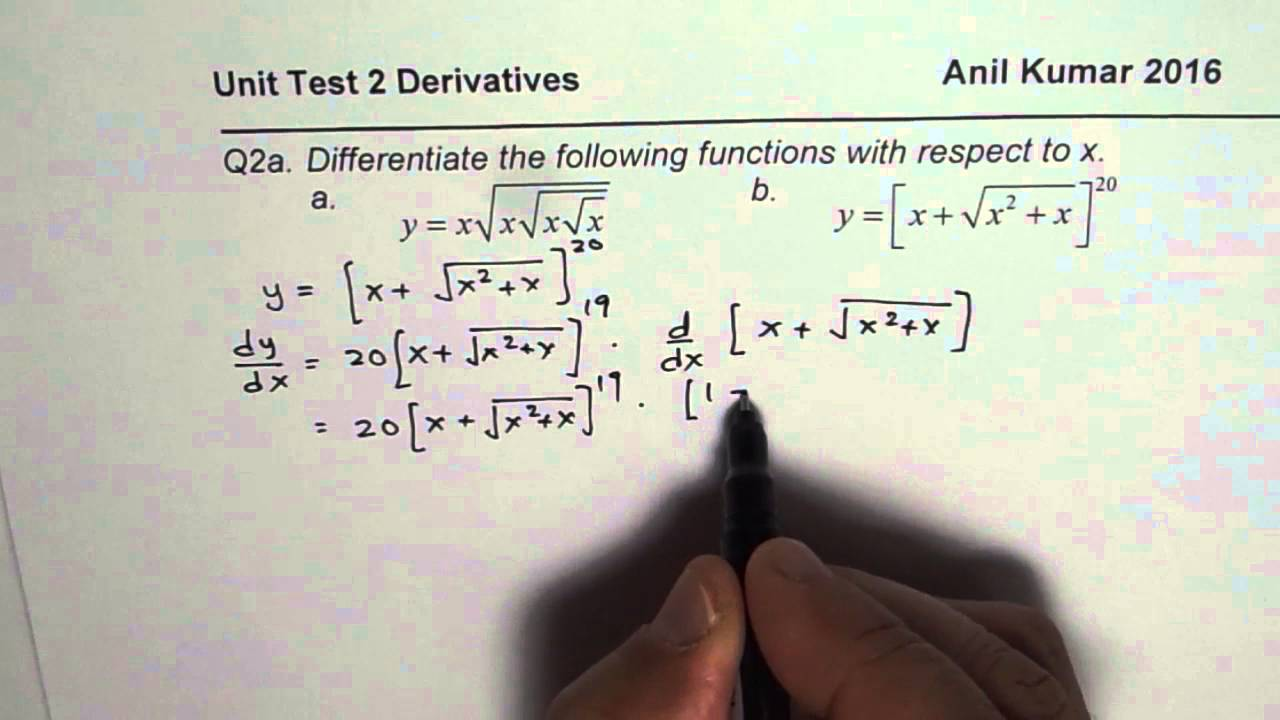 Q2a Derivative of Complicated Square Root with Chain Rule Calculus ...