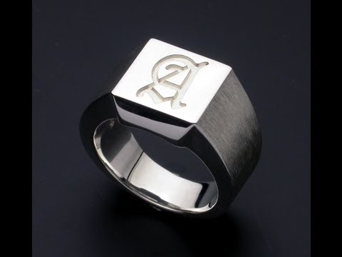 Old English Initial Silver Ring  925 Silver