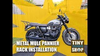 0016: Triumph T120 Metal Mule Pannier Racks & Top Box Installed