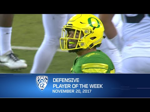 Oregon linebacker Troy Dye named Pac-12 football Defensive Player of the Week after containing...