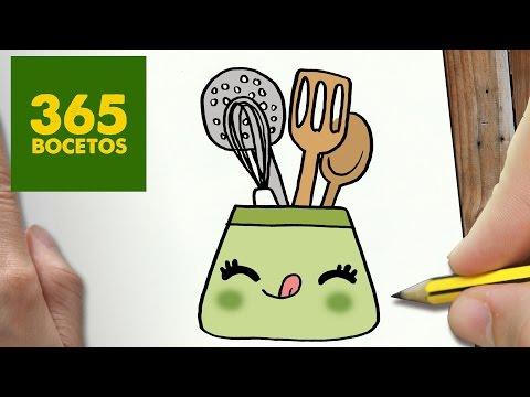 Como Dibujar Utiles De Cocina Kawaii Paso A Paso Dibujos Kawaii