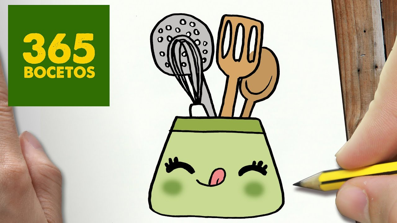 Como dibujar utiles de cocina kawaii paso a paso dibujos for Dibujos de cocina