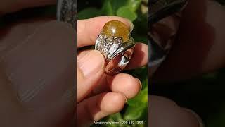 Nhẫn nam đá chủ thạch anh tóc vàng, bạc 925