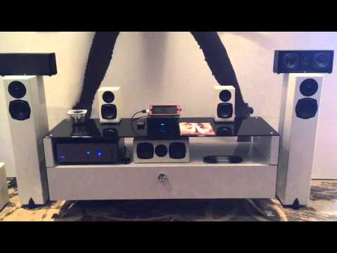 Totem small bookshelf speakers + mini sub demo