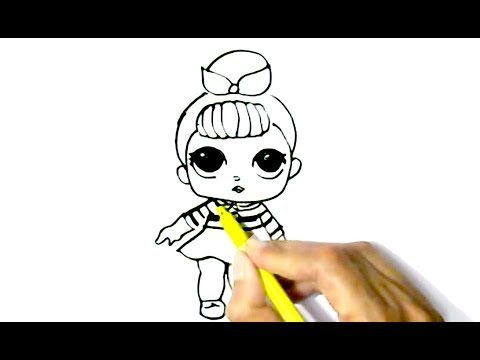 Easy D Line Drawings : How to draw l.o.l.doll in easy steps for children kids beginners